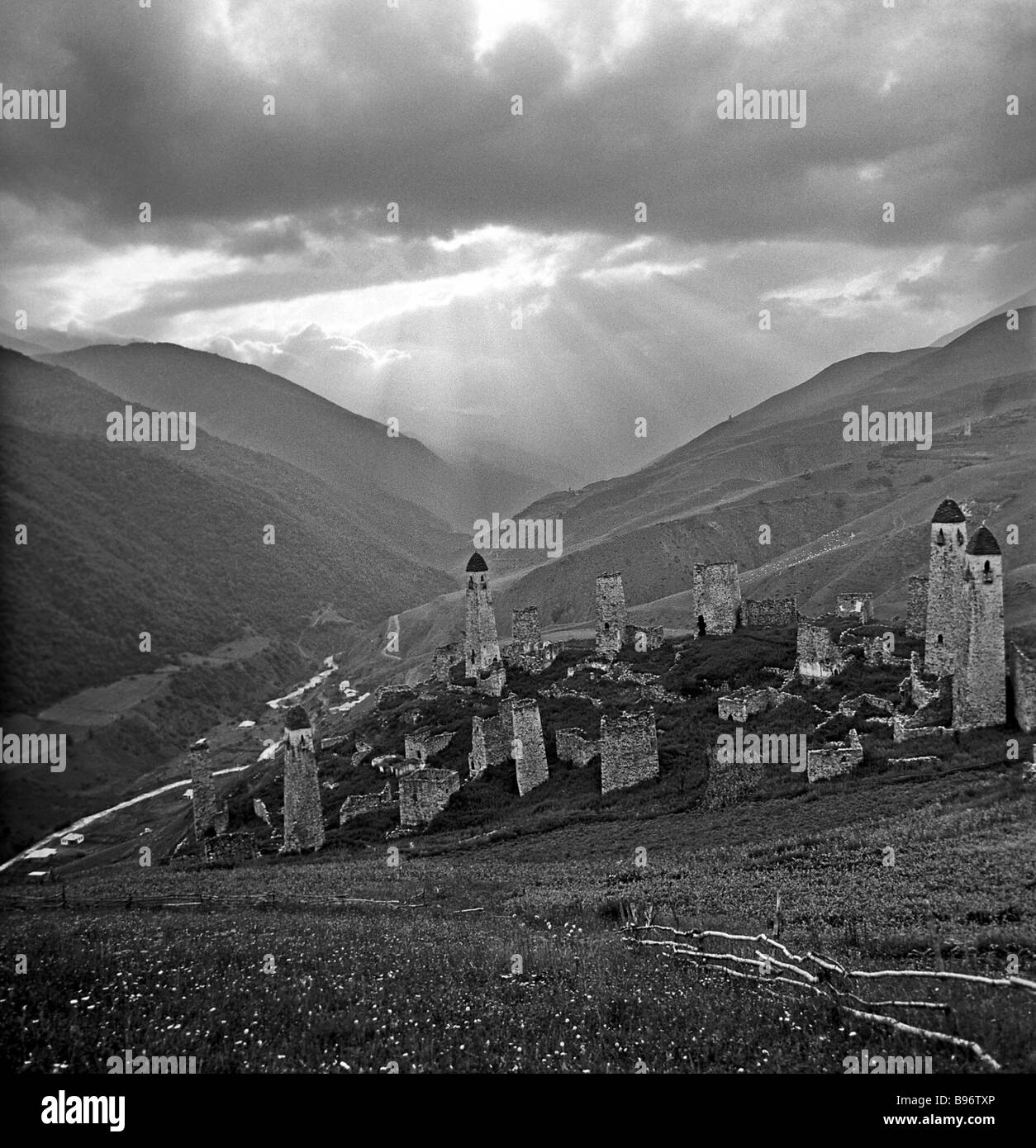 Watchtowers up to 20 meters high in the ancient village Erzi which means Eagle - Stock Image