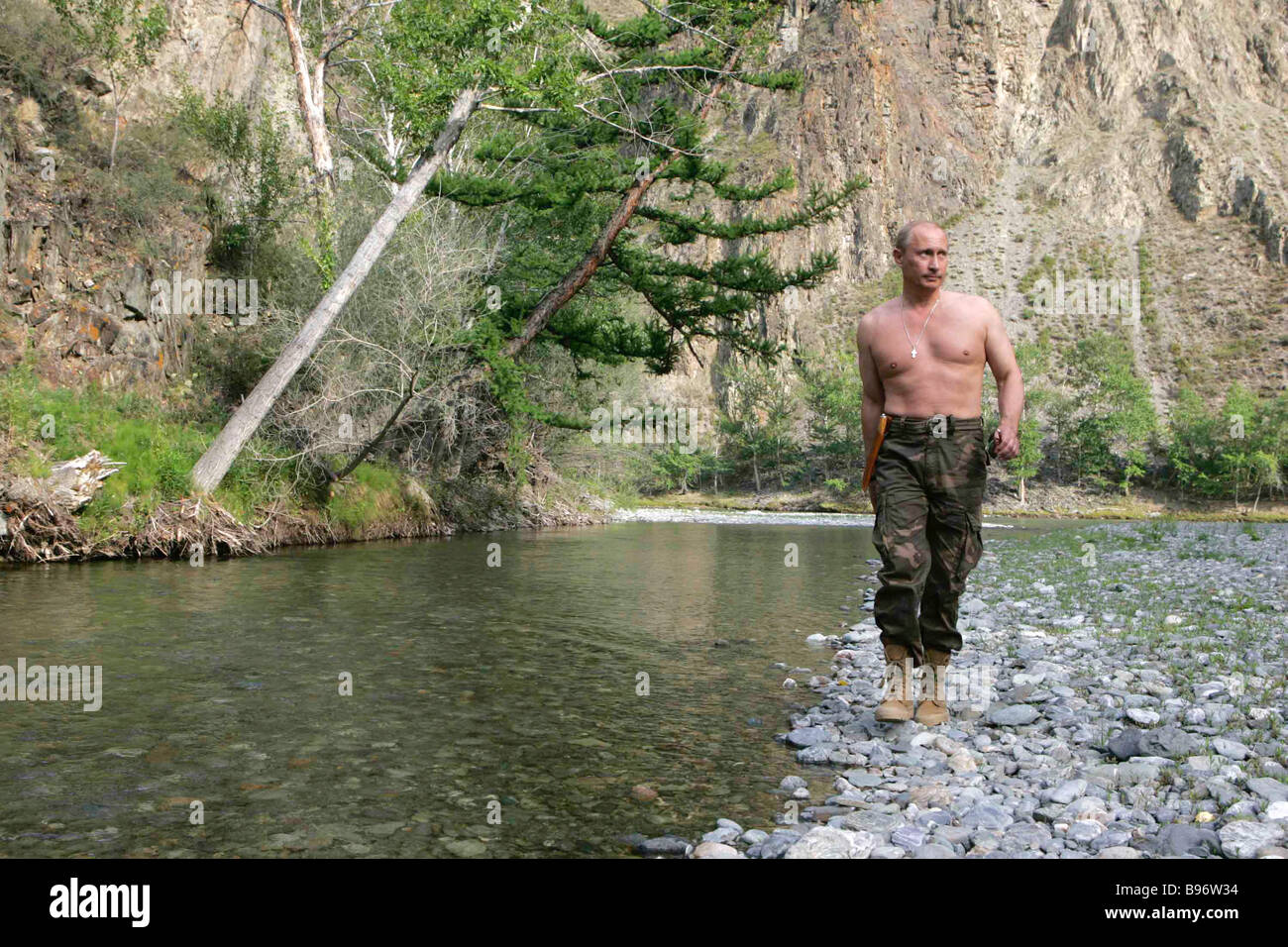 Russian President Vladimir Putin near the Khemchik River in the Republic of Tuva August 15 2007 - Stock Image
