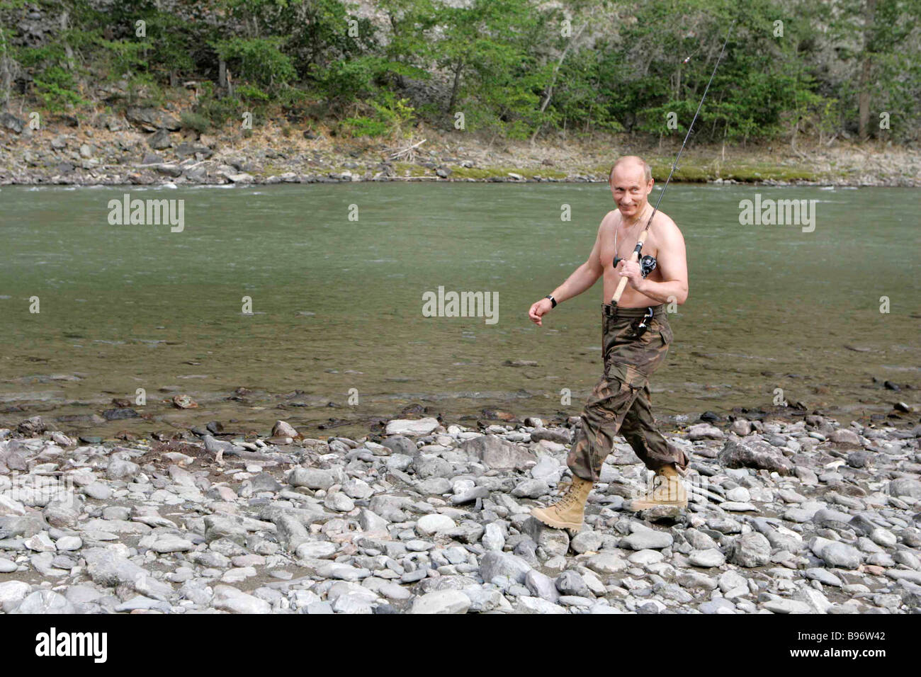 Russian President Vladimir Putin fishing on the Khemchik River in the Republic of Tuva August 15 2007 - Stock Image