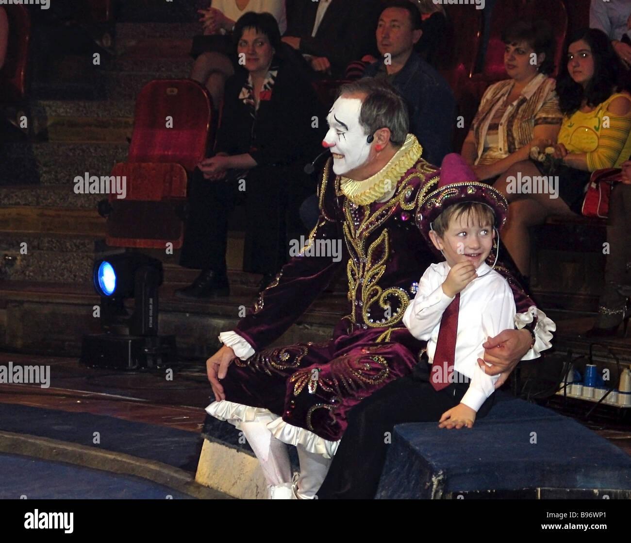Oleg Yankovsky Russian film star Lenkom Theatre leading man and Kinotavr film festival president appears as a clown - Stock Image