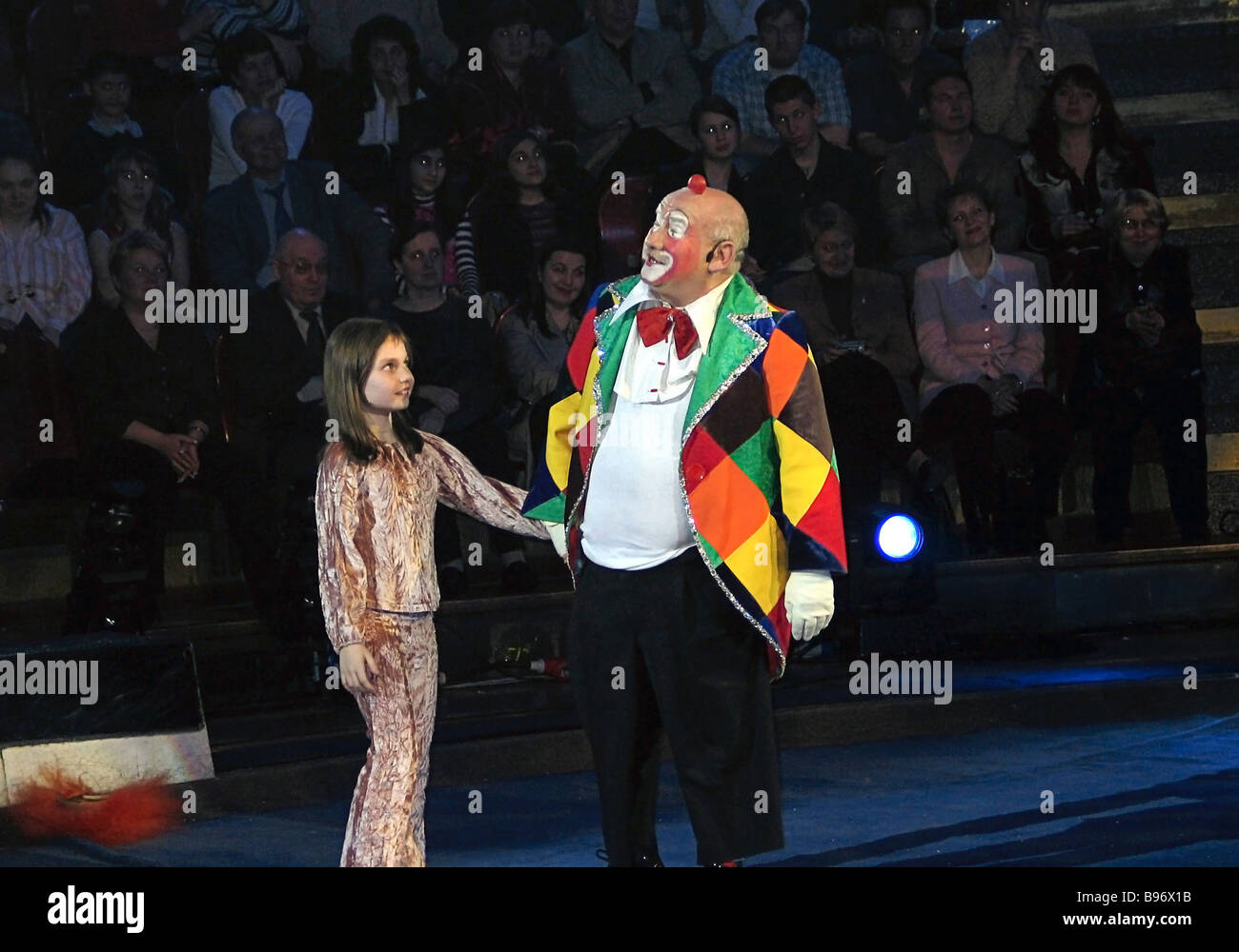 Mark Rudinshtein Kinotavr corporate group president appears as a clown in a performance 15 Years Since the World - Stock Image