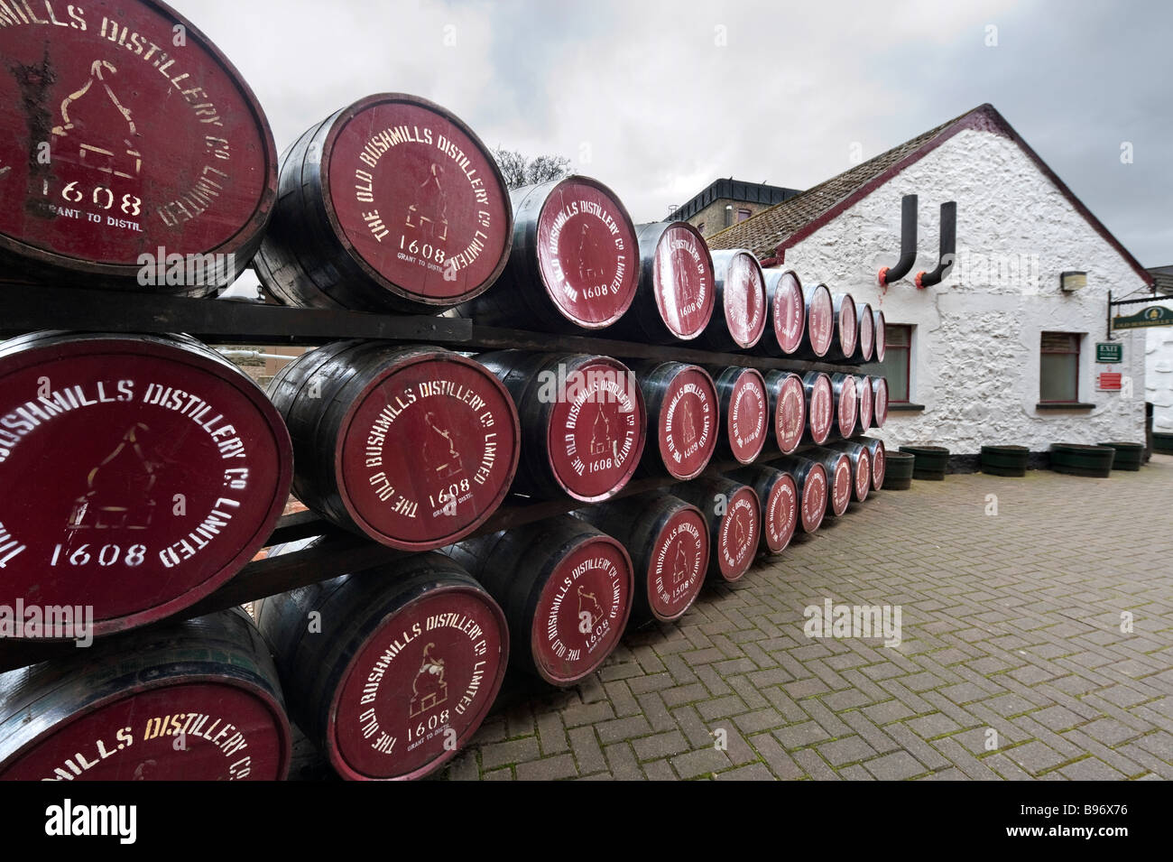 Whiskey barrels at the Old Bushmills Distillery, Bushmills, County Antrim, Northern Ireland - Stock Image