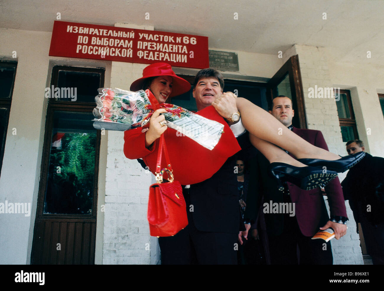 Russian Presidential candidate Vladimir Bryntsalov and his wife Natalya after voting Stock Photo