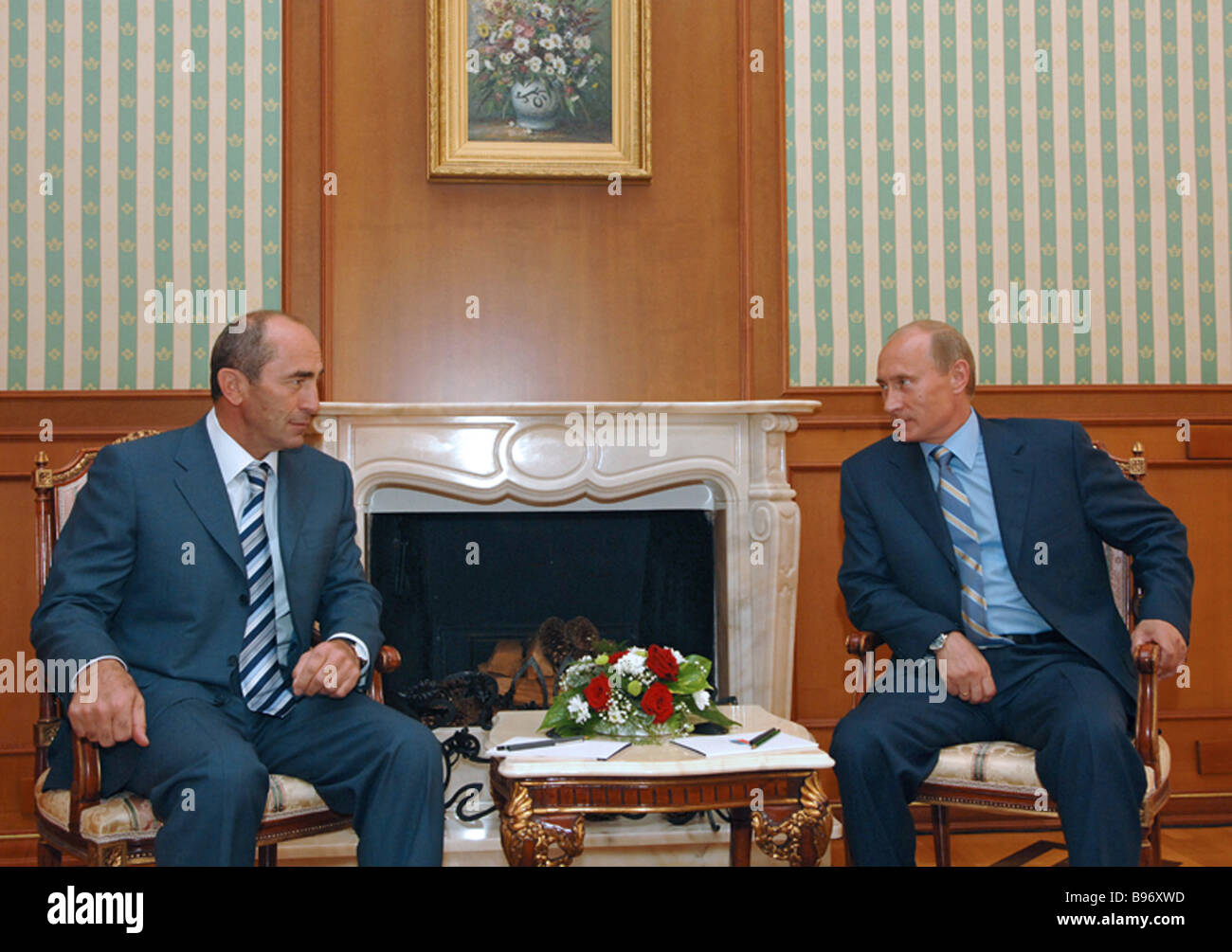 August 23 2007 Armenian President Robert Kocharian left and Russian President Vladimir Putin meeting at the Bocharov - Stock Image