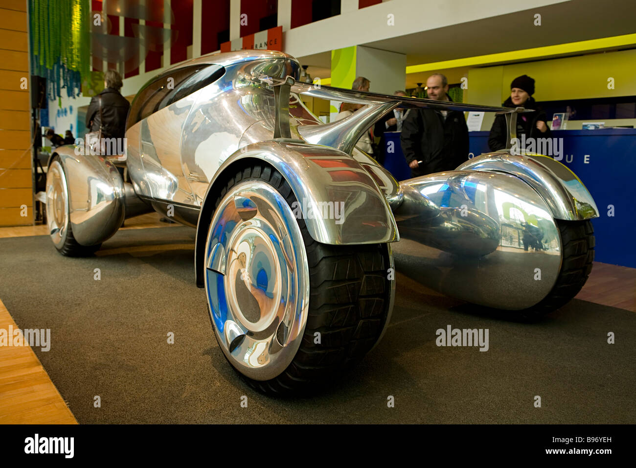 Polished aluminum Peugeot prototype concept car in Berlin, Germany. - Stock Image