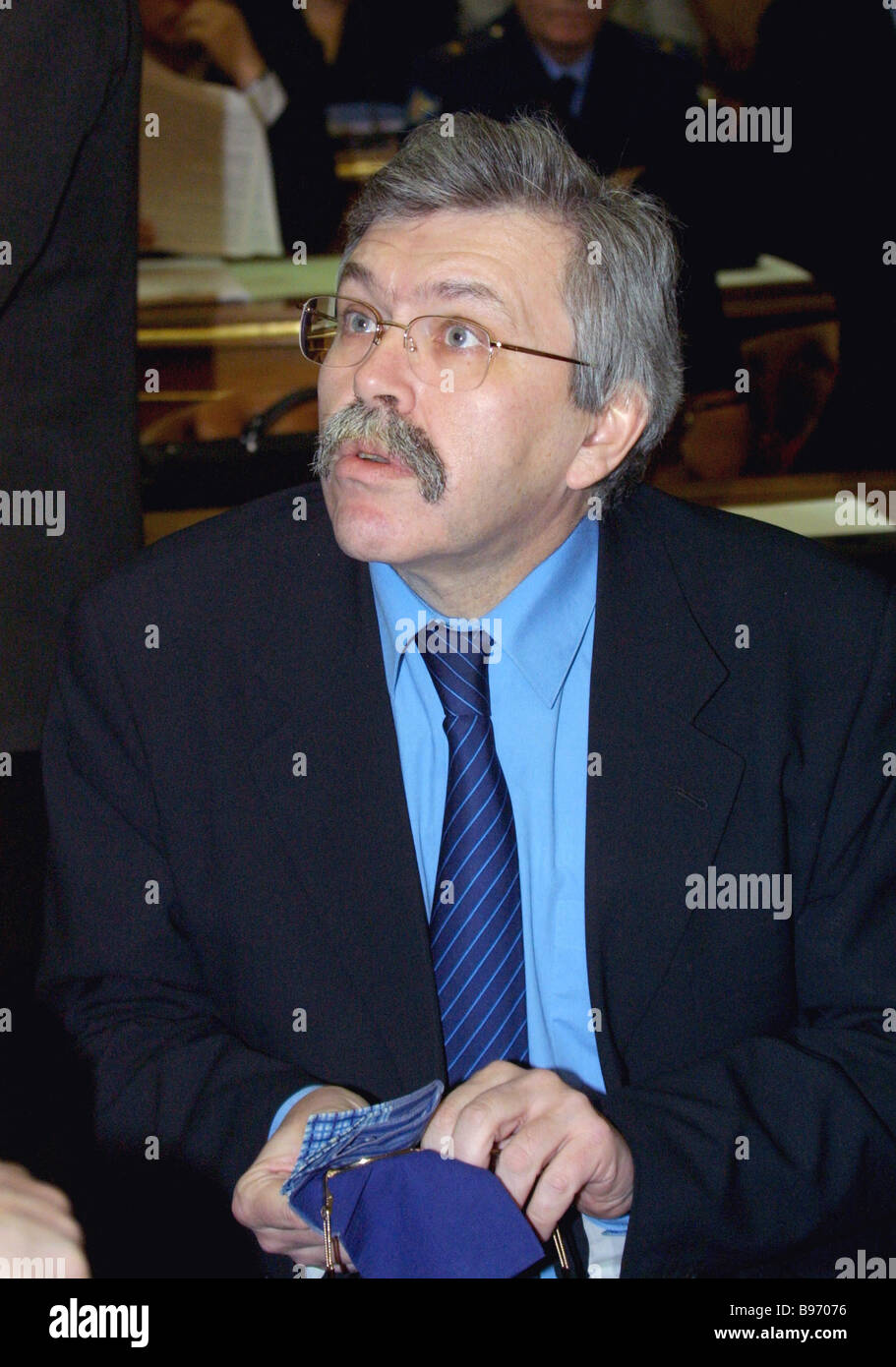 The Russian State Statistical Committee Chairman Vladimir Sokolin reporting on results of the 2002 all Russian population - Stock Image