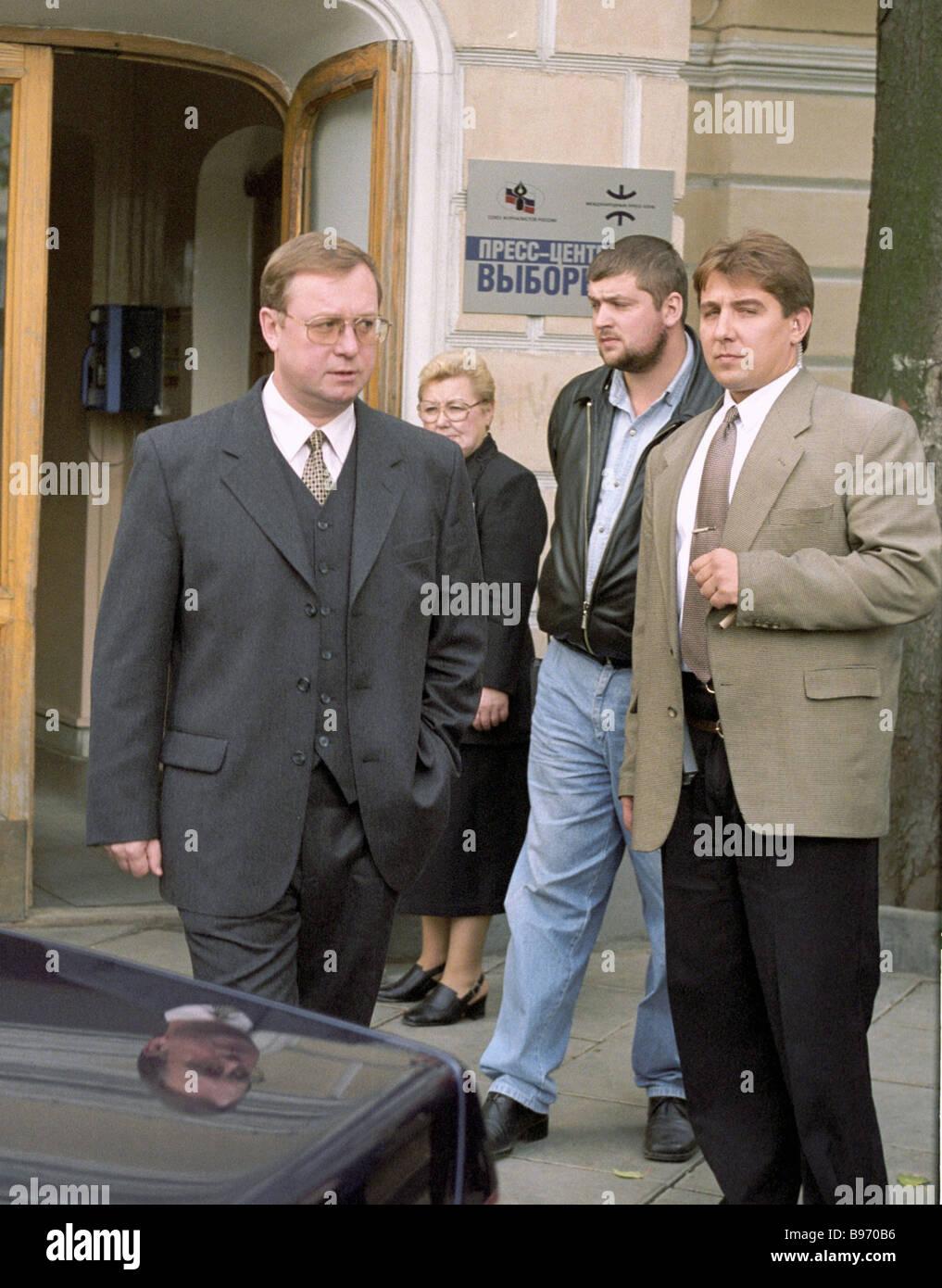 One of Yabloko political faction leaders Sergei Stepashin left - Stock Image