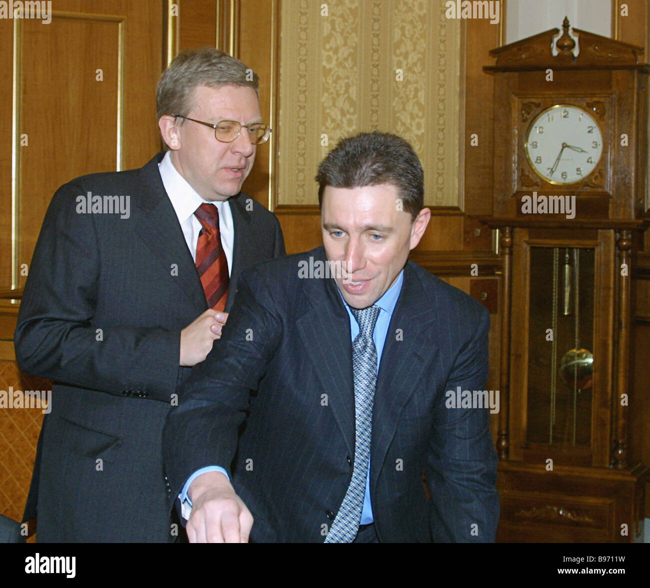 Deputy Prime Minister Finance Minister Alexey Kudrin left and St Petersburg Banking House Bankirsky Dom Sankt Peterburg - Stock Image