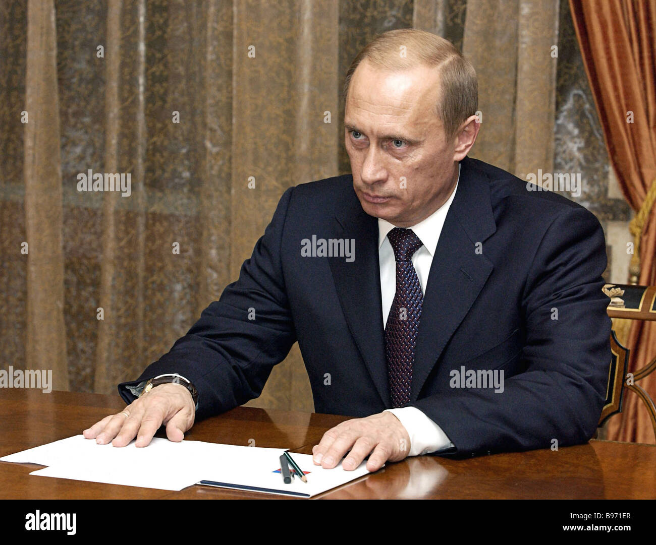 Russian President Vladimir Putin held consultations with the parliamentary majority in the State Duma - Stock Image