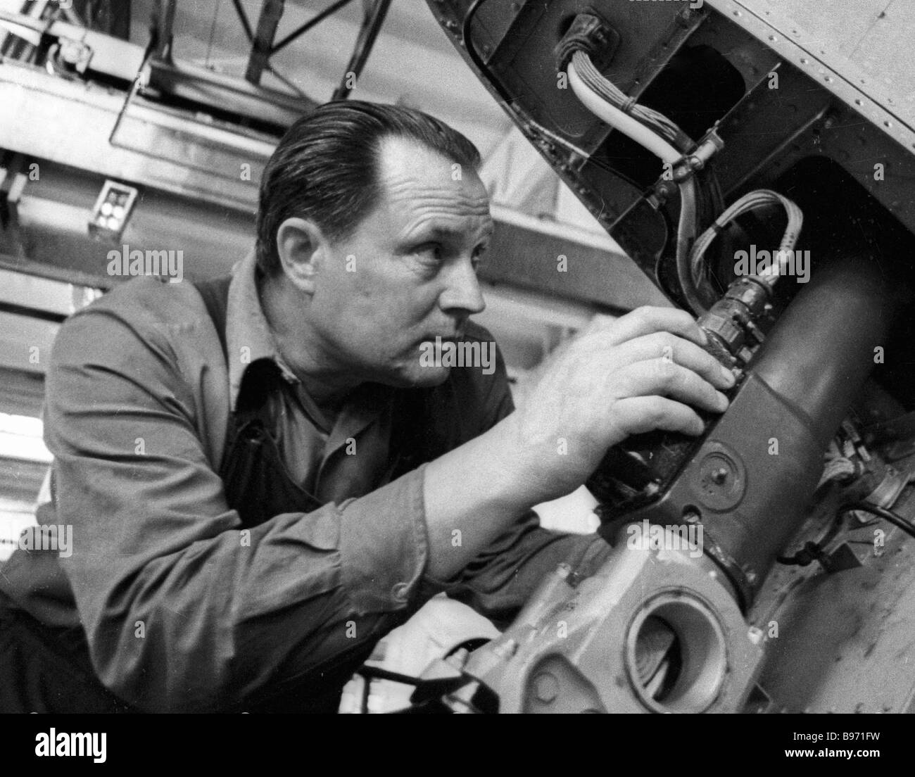 TU 134A liner tail unit assembly at the Kharkov Aircraft Building Works Stock Photo