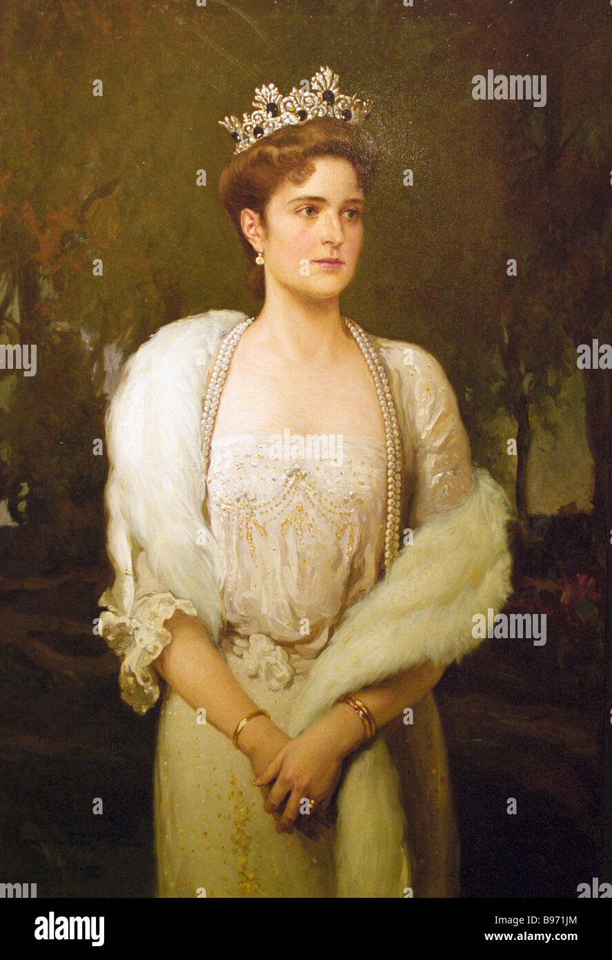 Portrait of Empress Alexandra consort of Russia s Emperor Nicholas II 1914 The painting appeared at the exposition - Stock Image