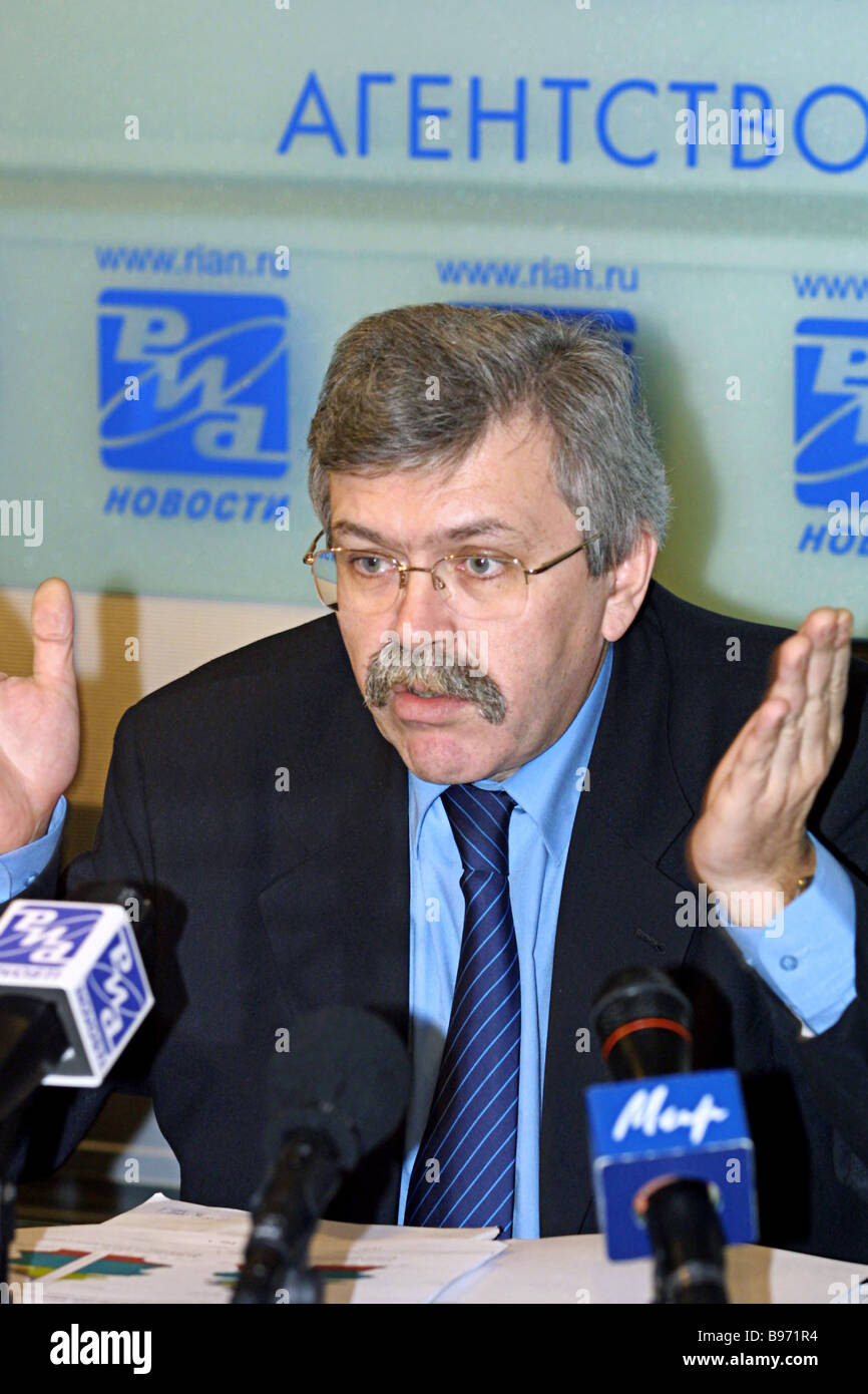 Vladimir Sokolin Chairman of the State Statistical Committee addresses RIA Novosti news conference According to - Stock Image