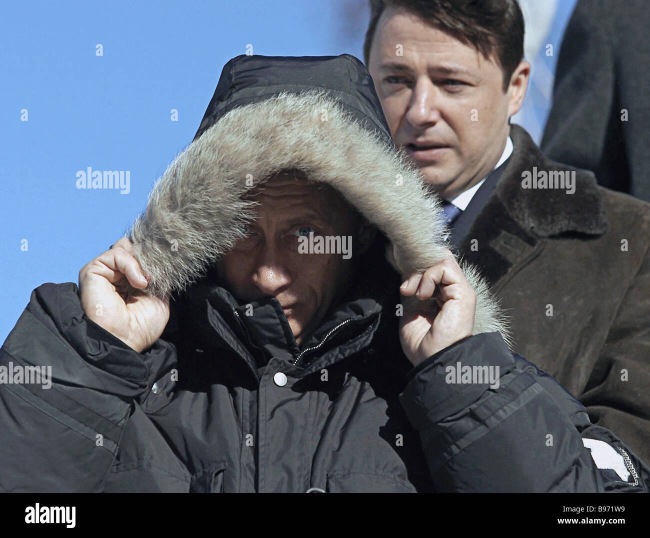 Russian President Vladimir Putin accompanied by Krasnoyarsk Territory Governor Alexander Khloponin right visits - Stock Image
