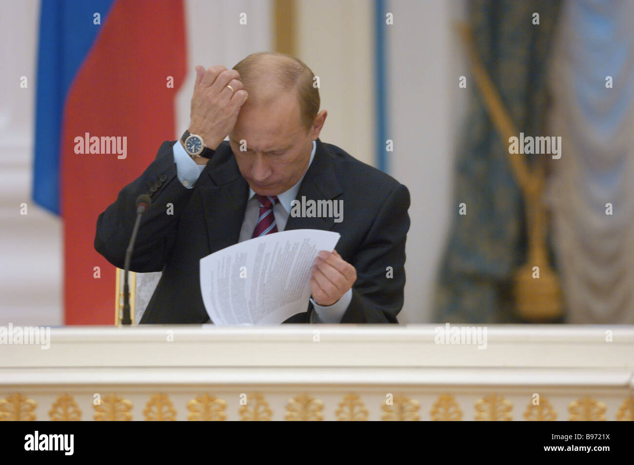 Russian President Vladimir Putin addresses spokesmen of the Russian Industrialists and Entrepreneurs Union RSPP - Stock Image