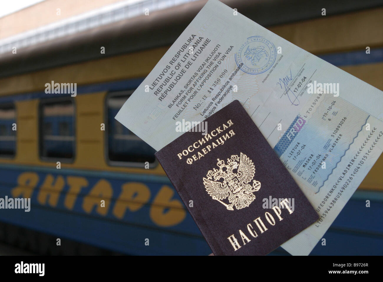 Belorussky railway station YANTAR train Moscow Kaliningrad Documents allowing Kaliningrad townsmen to cross the Stock Photo