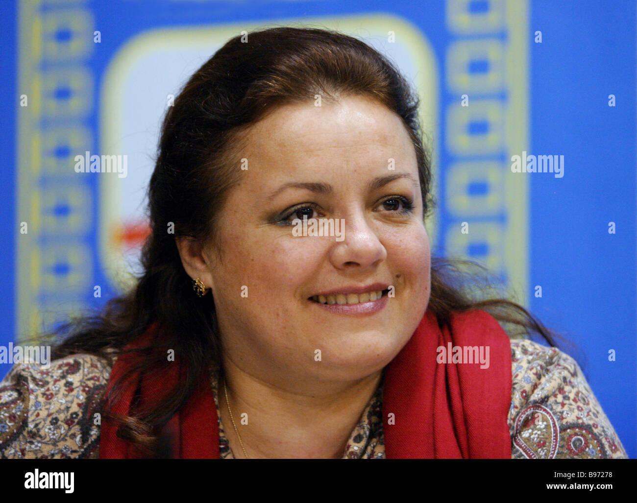 Film director Elena Tsyplakova at the press conference dedicated to the X international STALKER festival of films - Stock Image