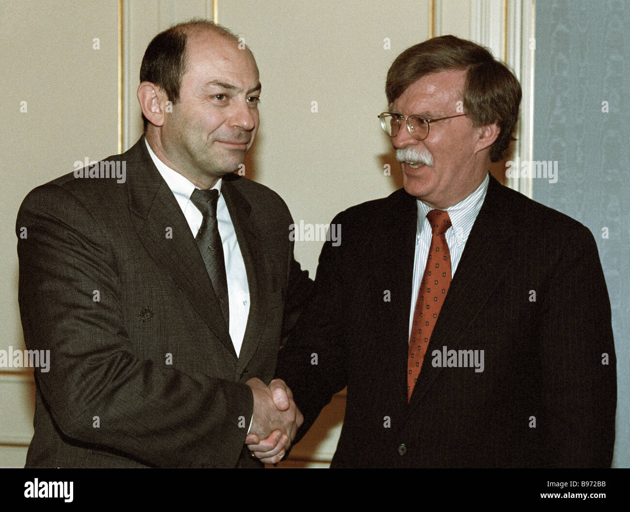 Vladimir Rushailo secretary of the Security Council of Russia left and John R Bolton US Undersecretary of State - Stock Image