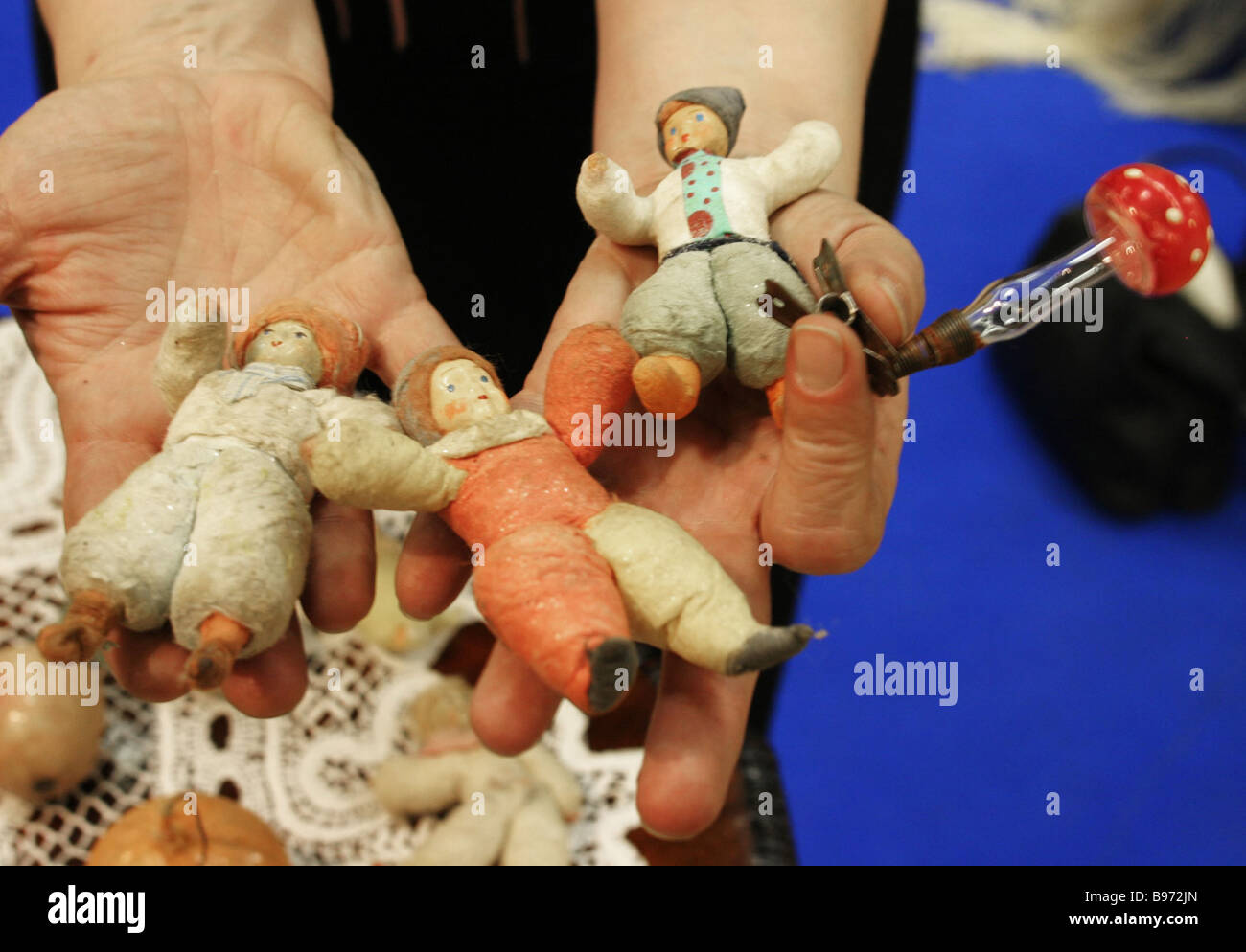 Ceramic X mas tree toys on display at the Exhibiition of X mas Tree Toys created by 20th century craftsmen - Stock Image
