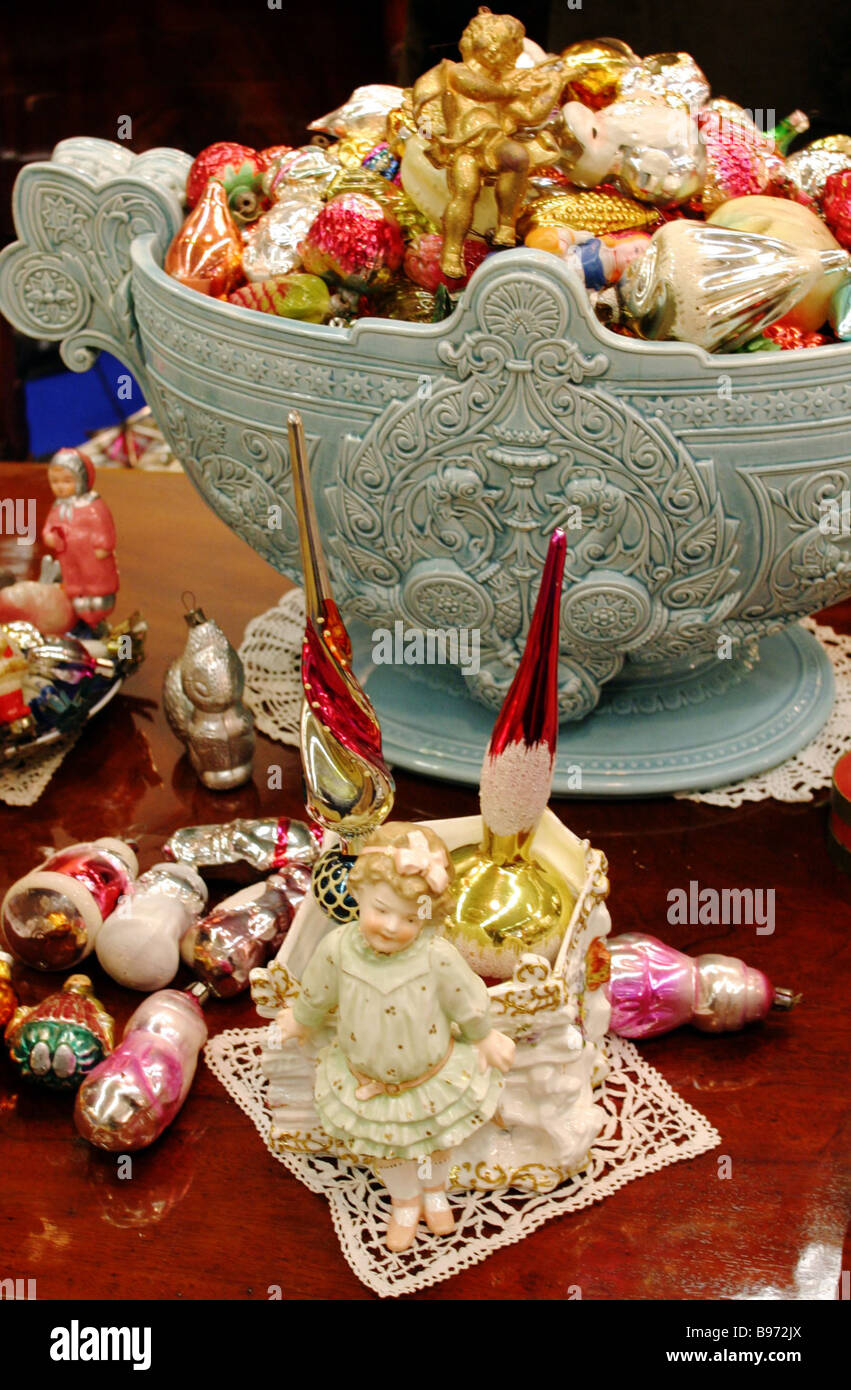 Ceramic X mas tree toys on display at the Exhibition of X mas Tree Toys created by 20th century craftsmen - Stock Image