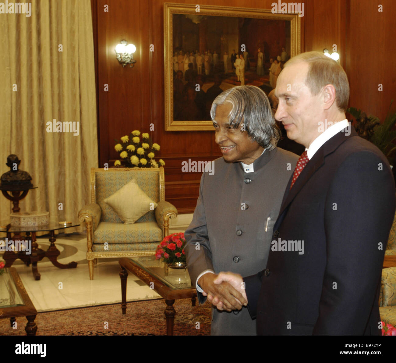Indian and Russian Presidents Abdul Kalam and Vladimir Putin left to right during Putin s official Indian visit - Stock Image