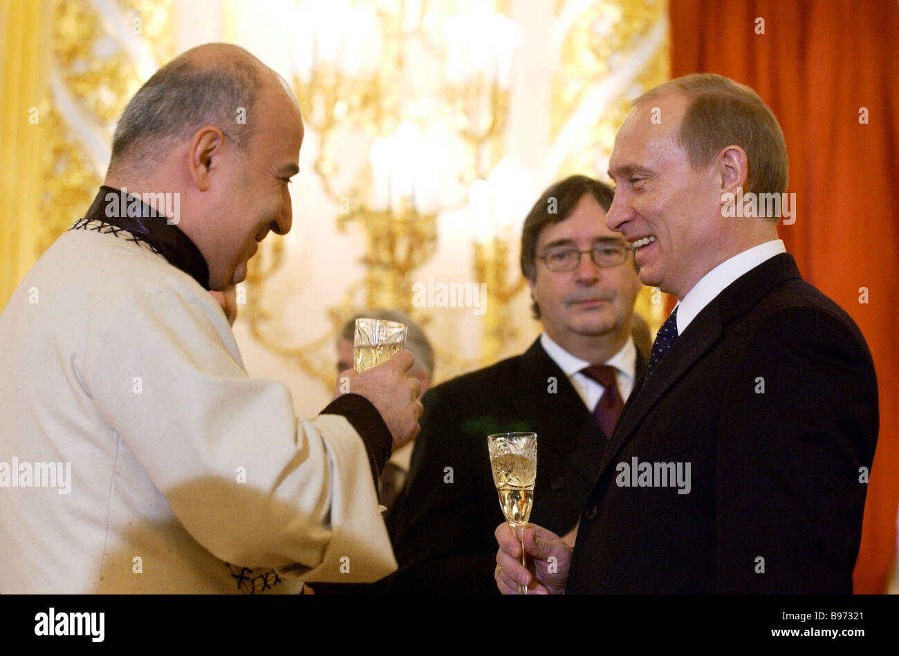 President Vladimir Putin of the Russian Federation right and Georgia s Ambassador to the Russian Federation Valery - Stock Image