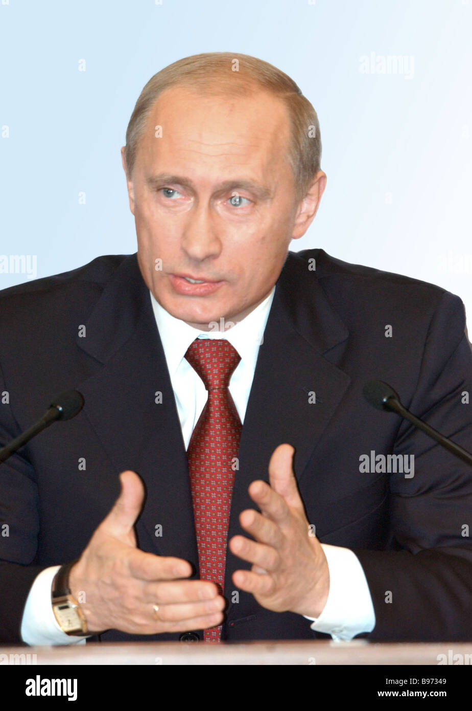 Russian President Vladimir Putin at the annual press conference for Russian and foreign mass media representatives - Stock Image