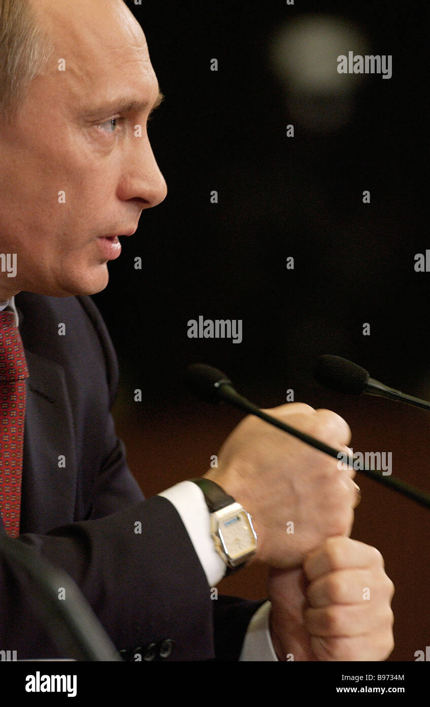 Russian President Vladimir Putin in the Kremlin s Round Hall at the annual press conference for Russian and foreign - Stock Image