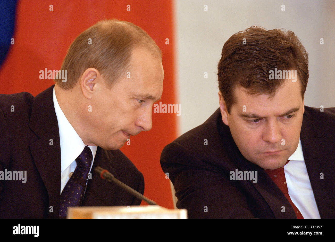 Russian President Vladimir Putin left and Head of Presidential Administration Dmitry Medvedev at the State Council - Stock Image