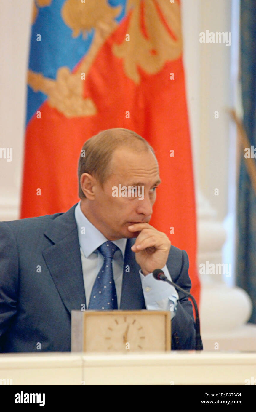 Russian President Vladimir Putin called for national consolidation as he was meeting with top government and parliamentary - Stock Image