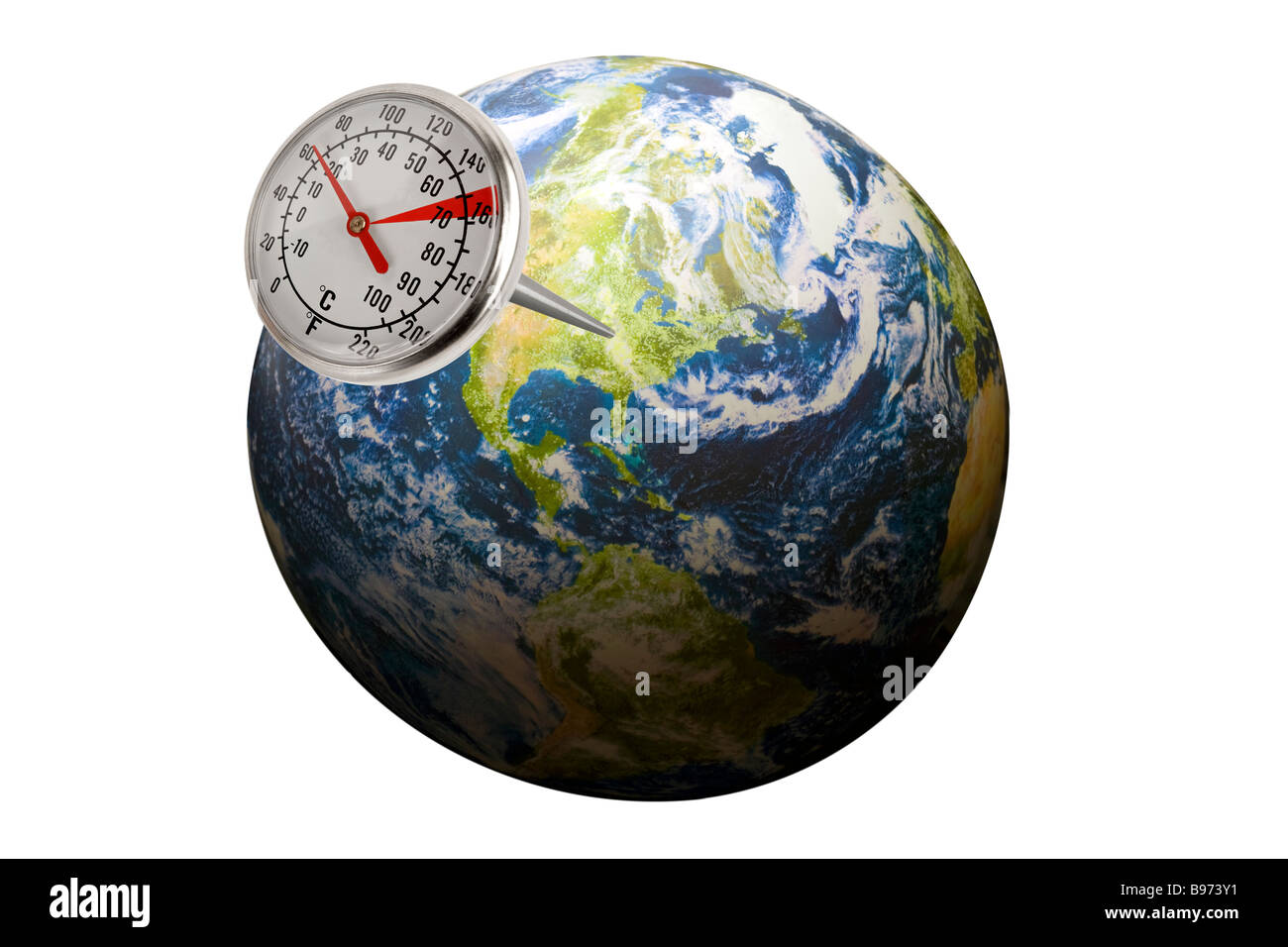 thermometer sticking out of planet earth depicting carbon emissions or a change in temperature of the planet - Stock Image