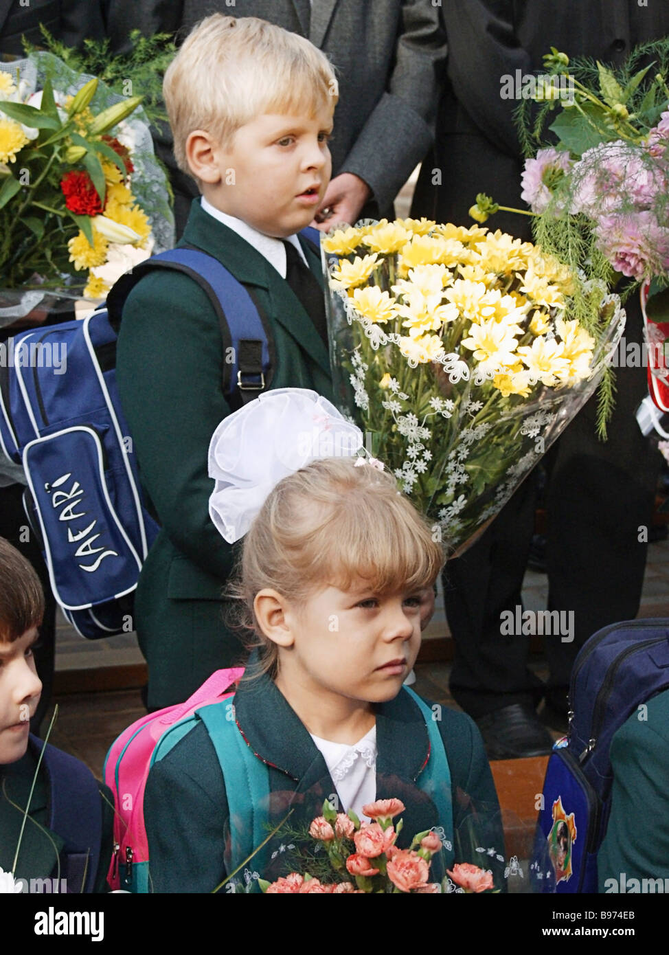 First grade students of Balashikha school No 23 celebrate Day of Knowledge on September 1 - Stock Image