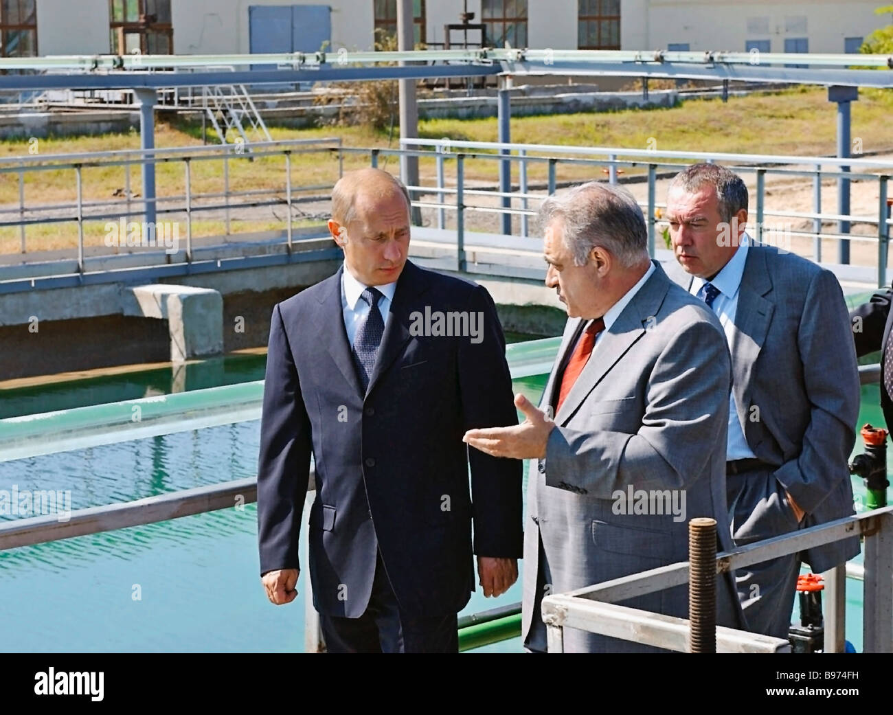 Russian President Vladimir Putin first left who visited purification facilities in Rostov On Don was accompanied - Stock Image
