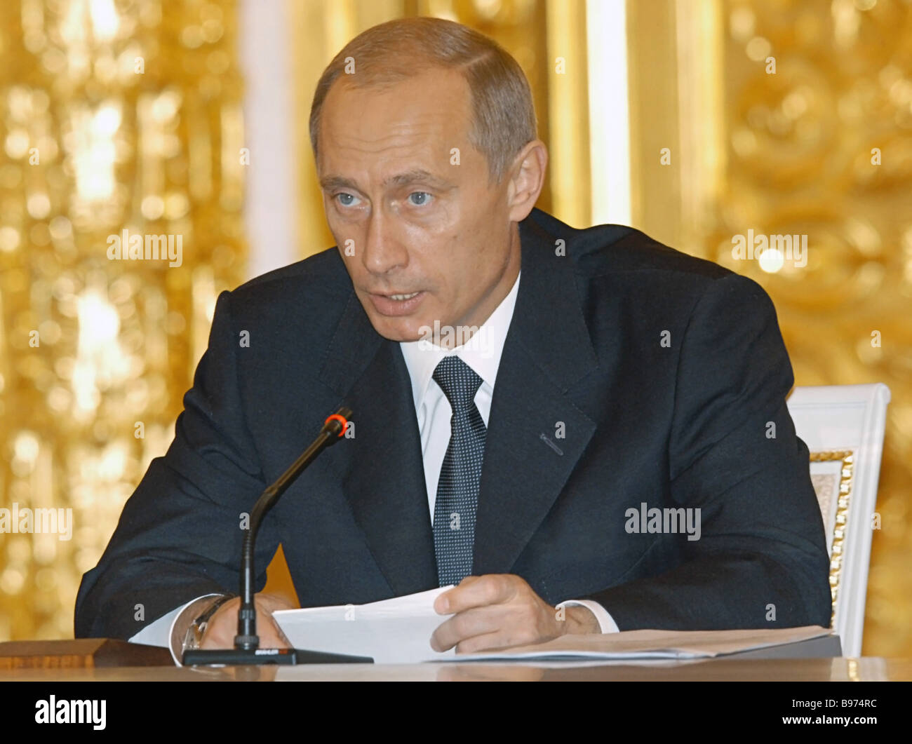 Russian President Vladimir Putin in the Kremlin chairing a State Council meeting - Stock Image