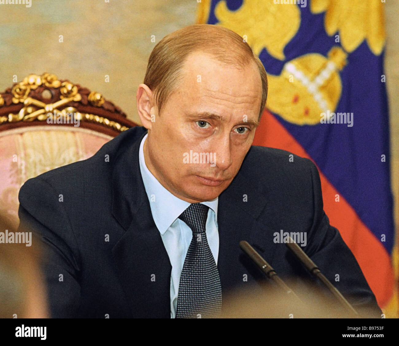 Russian President Vladimir Putin during one of his regular Monday meetings with the Cabinet - Stock Image