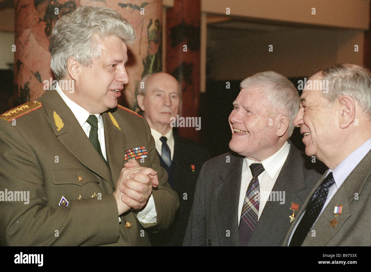 State Duma deputy Nikolai Kovalyov left talks to veterans who attended an official function at the Cultural Center - Stock Image
