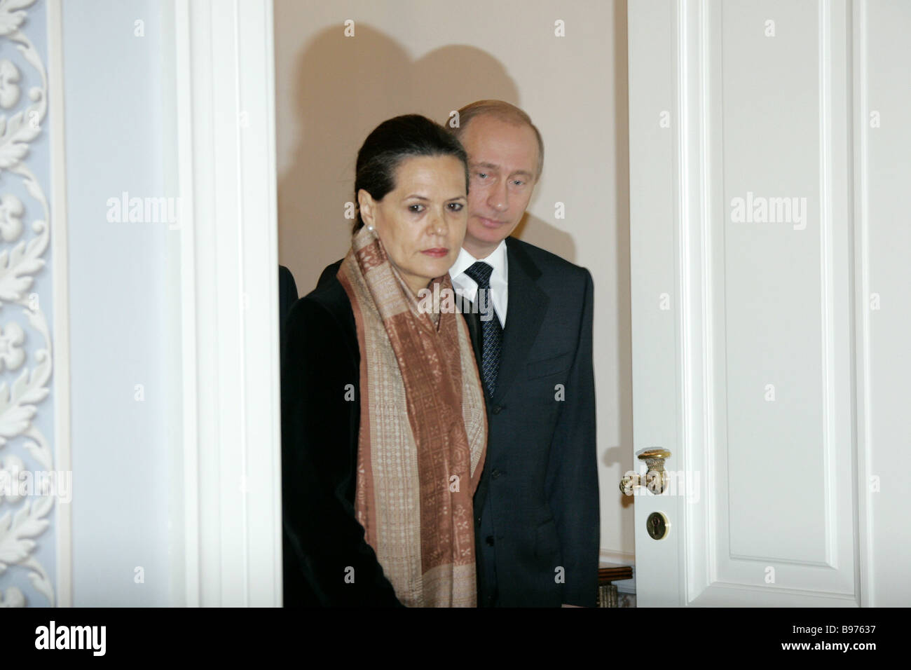 President of the Indian National Congress INC party of the Republic of India Sonia Gandhi and Russian President - Stock Image
