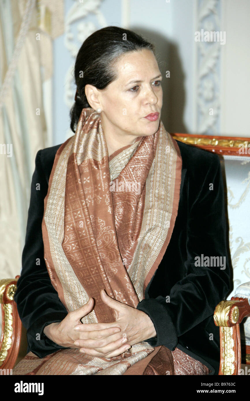 President of the Indian National Congress INC party of the Republic of India Sonia Gandhi currently in Russia in - Stock Image