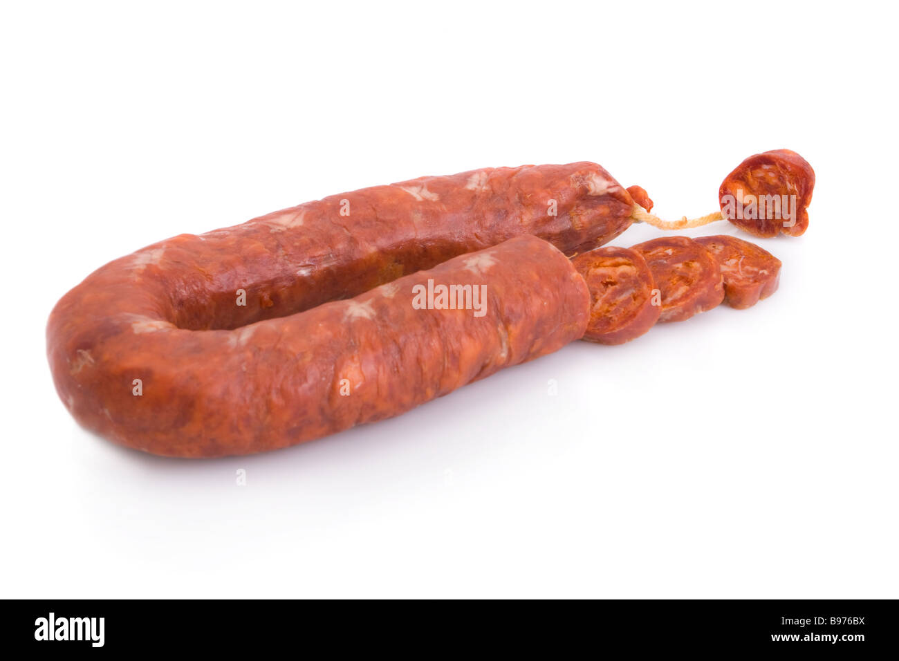 Iberian chorizo, from Barrancos - Alentejo region, Portugal (Chouriço) - isolated on white - Stock Image