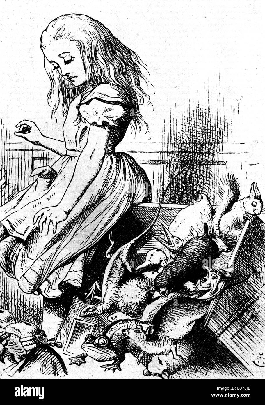 ALICE'S ADVENTURES IN WONDERLAND from the 1865 first edition of the book by Lewis Carroll drawn by John Tenniel - Stock Image