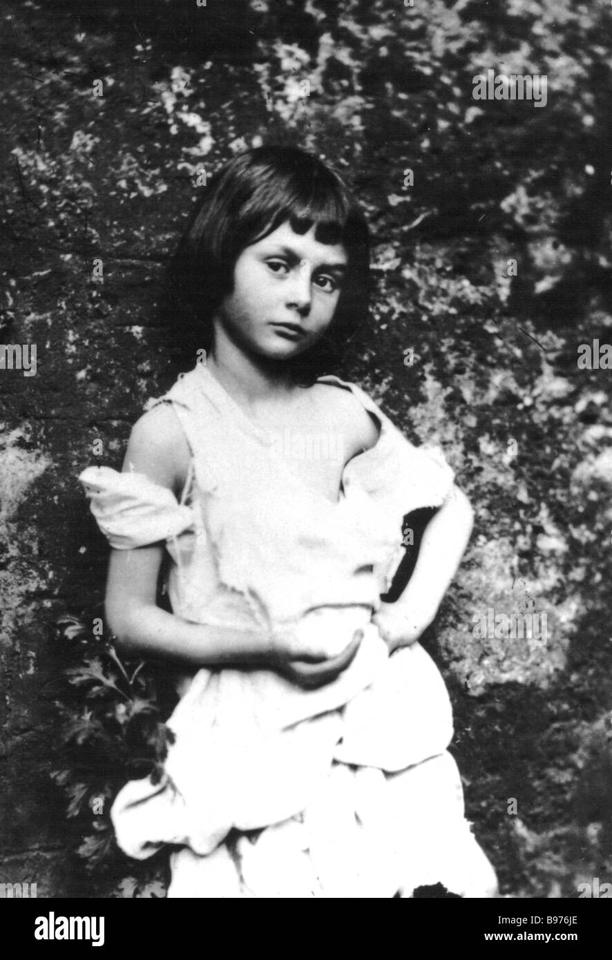 ALICE LIDDELL  photographed by Lewis Carroll aged 10 in 1858 and the inspiration for the Alice character in his - Stock Image