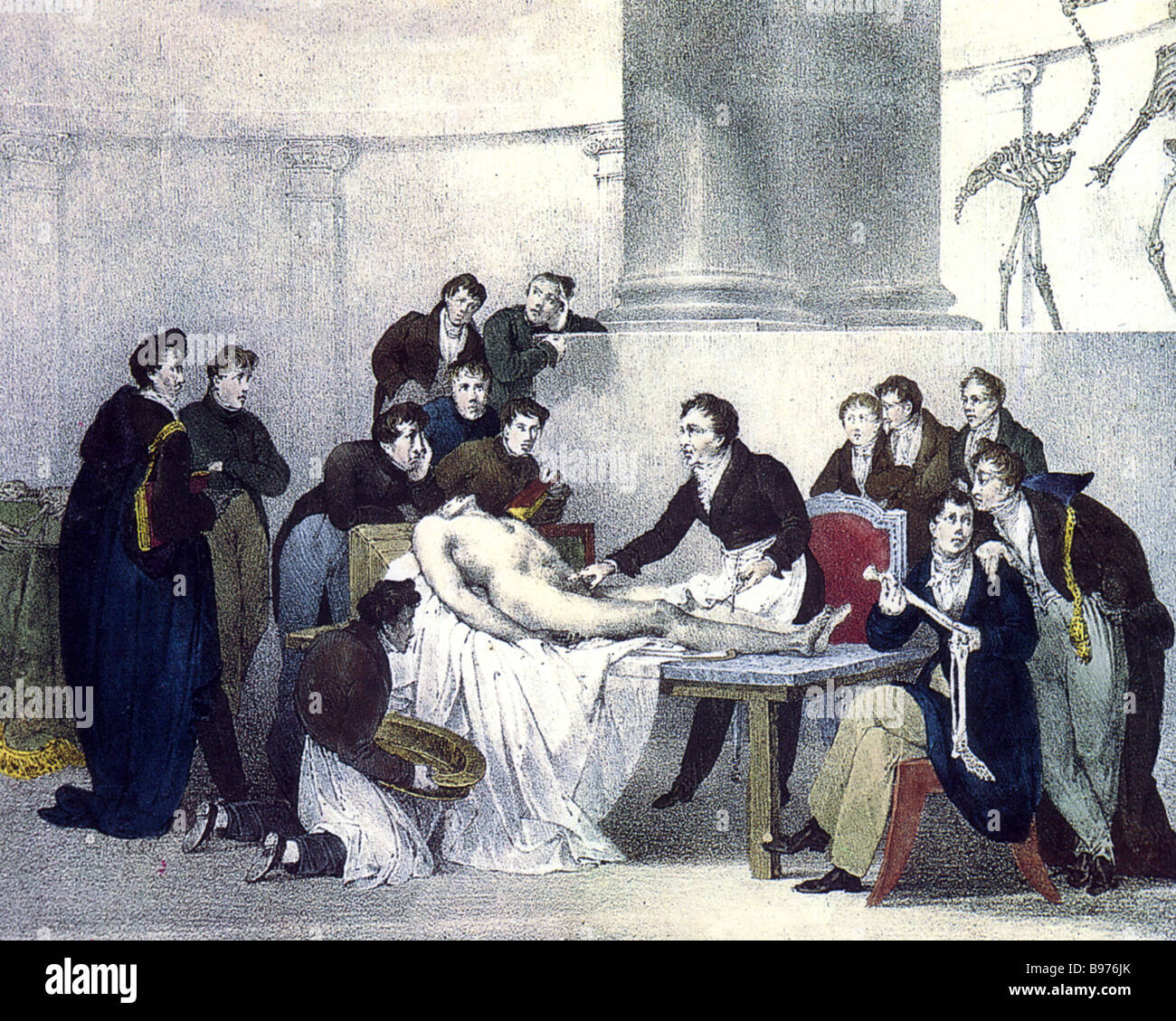 ANATOMY LESSON in a French engraving dated 1826 - Stock Image