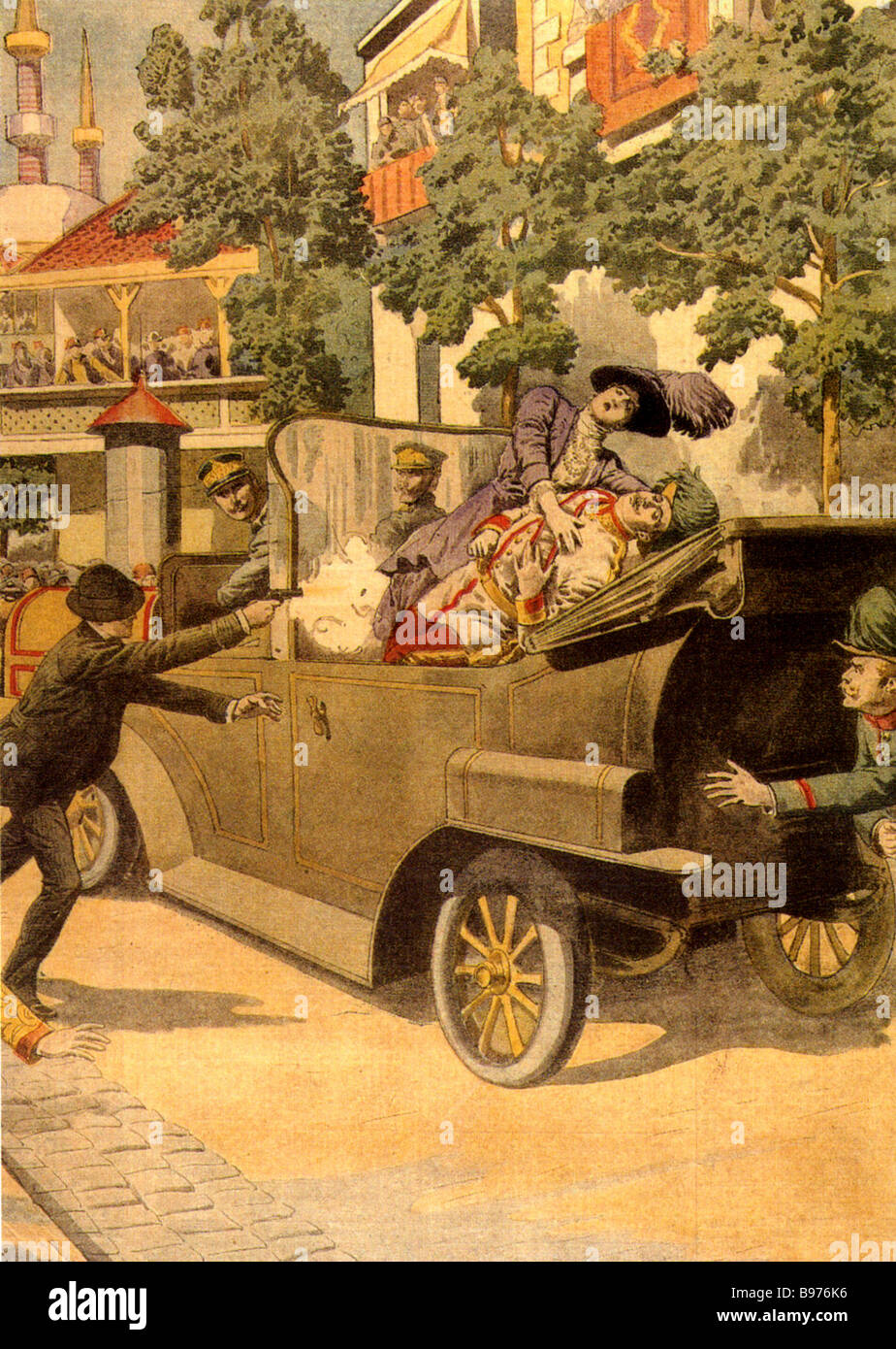 ASSASINATION OF AUSTRIAN ARCHDUKE FRANZ FERDINAND and his wife by Gavrilo Princip in Sarajevo on 28 June 1914 in - Stock Image
