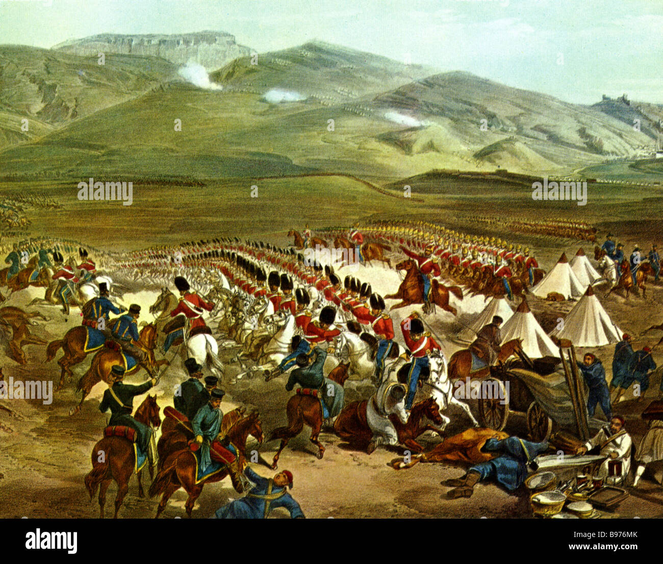 THE CHARGE OF THE LIGHT BRIGADE in the Crimea in 1854 shown in a contemporary engraving - Stock Image