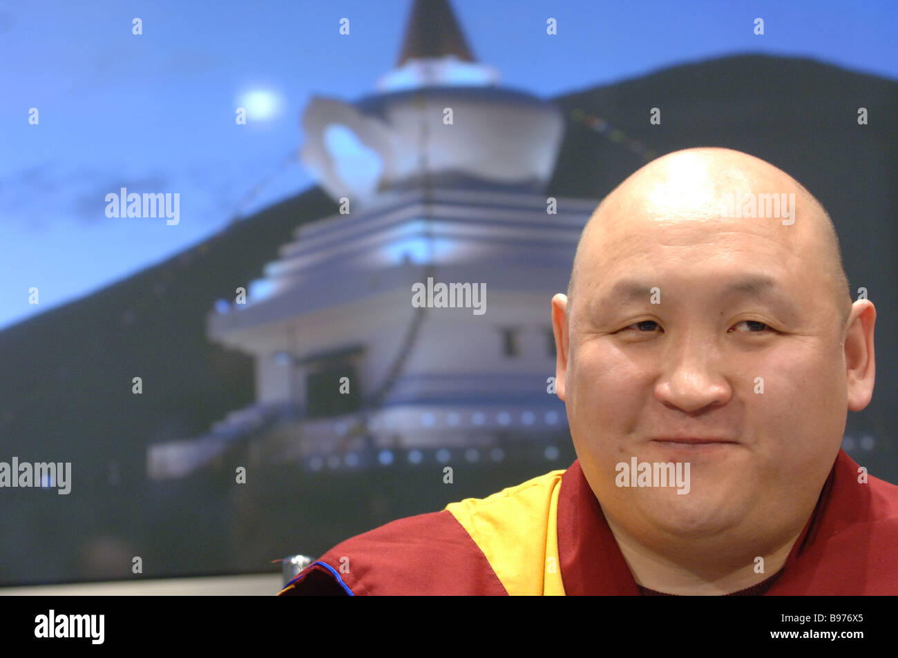 Lama Agvan Yeshei Dorzhinov of the Russian Central Buddhist Board at the news conference - Stock Image