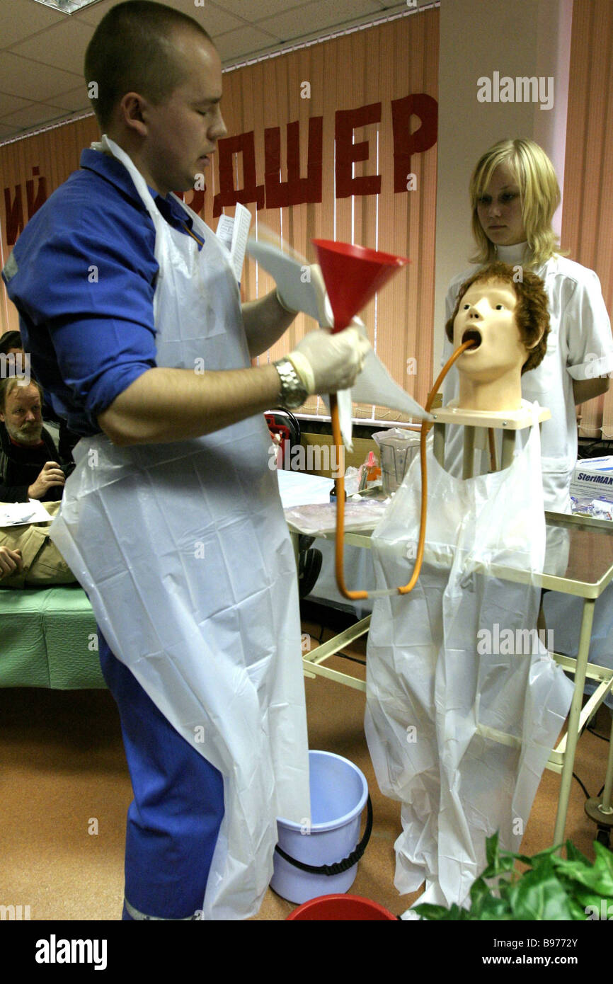The Best ambulance attendant contest took place in Moscow - Stock Image