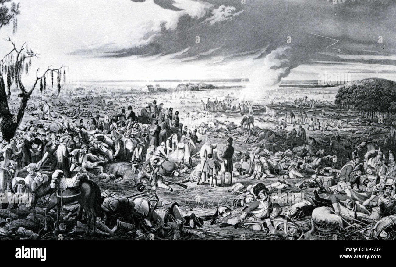 BATTLE OF WATERLOO 18 June 1815 contemporary engraving of the battlefield the morning after the battle - Stock Image