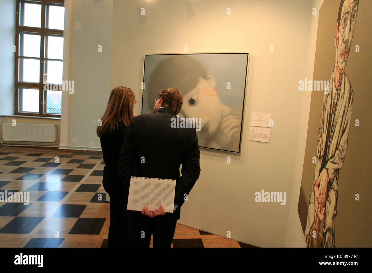 Visitors attending Christie s office preview at the Pashkov House in Moscow - Stock Image