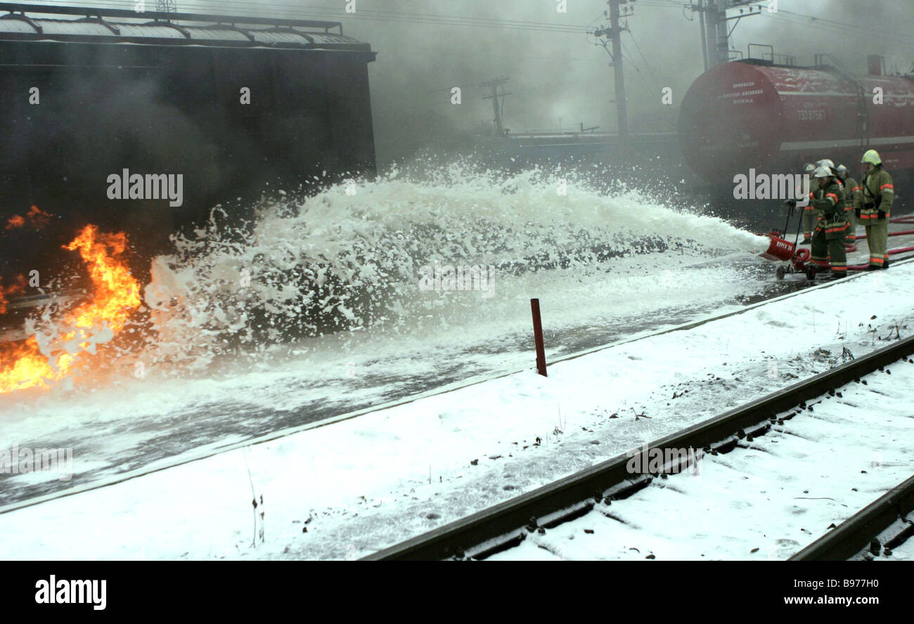 Ademonstration tactical special exercise on a railroad - Stock Image