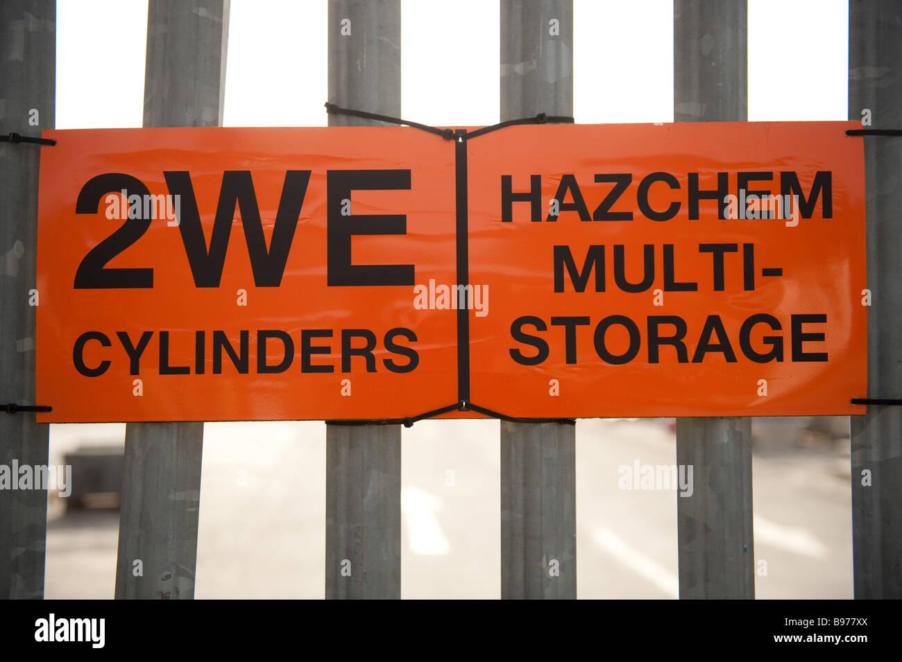 2WE Hazchem multi storage danger warning sign UK - Stock Image