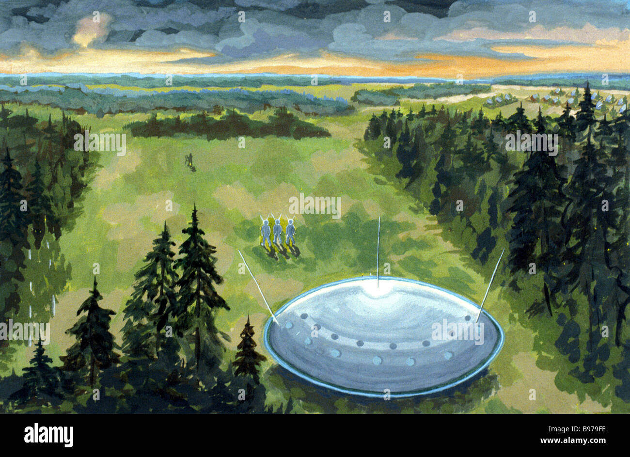 A picture of a UFO painted by artist Malyshev after a close encounter near Moscow in the summer of 1975 - Stock Image